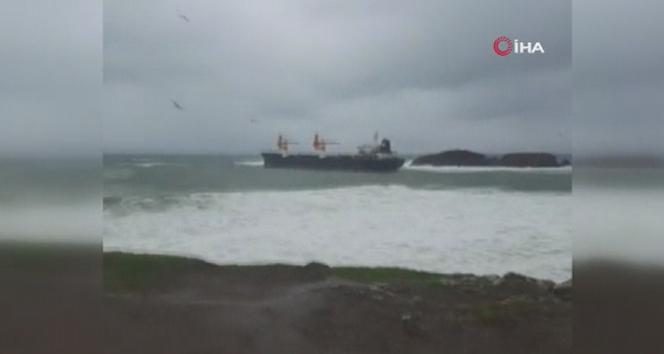 Riva açıklarında kargo gemisi karaya oturdu