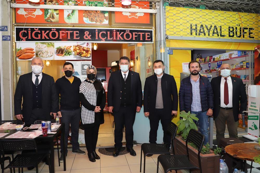 Alanya Belediye Başkanı Yücel ve Adlıhan Dere Alanya esnafını ziyaret etti