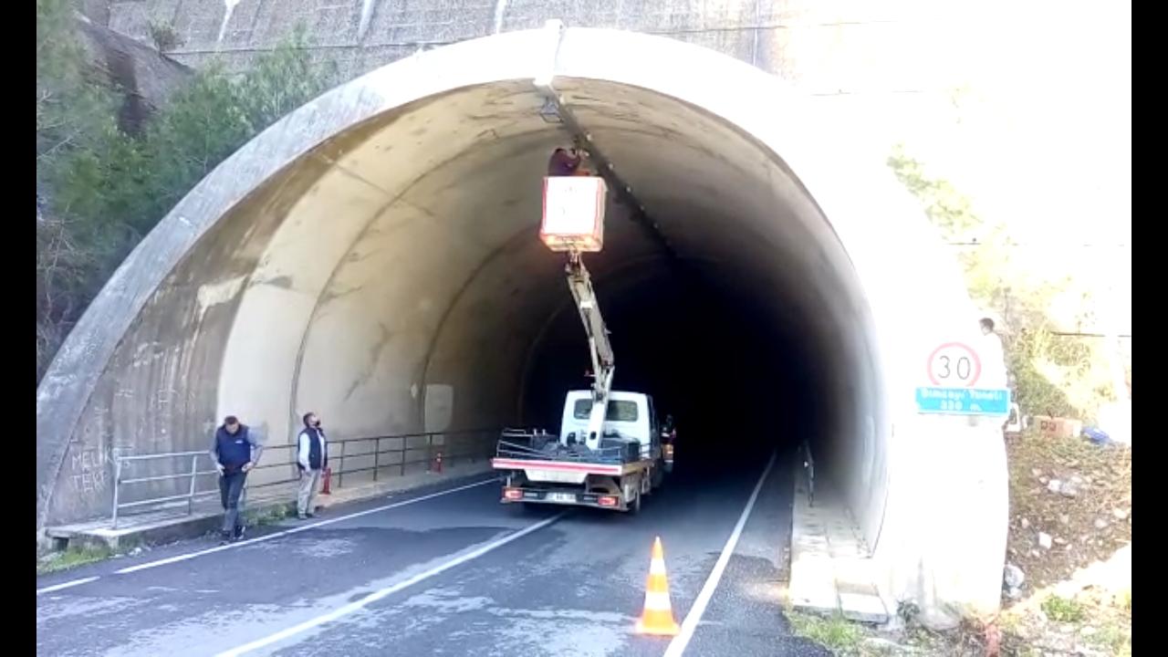 Dimçayı Tüneli'ndeki aydınlatma sorunu giderildi