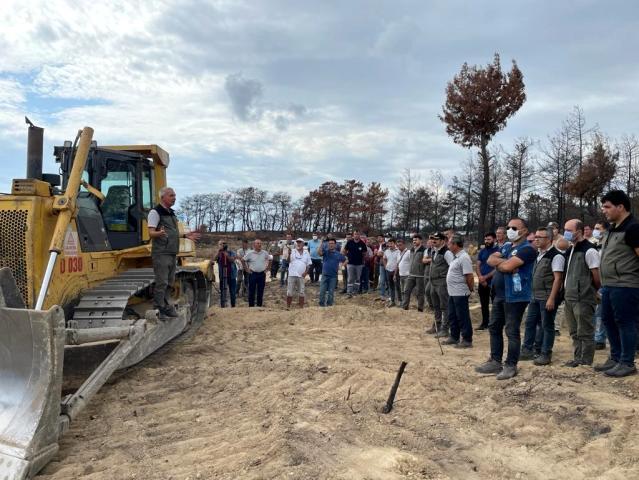 Manavgat Yangın Bölgesi'nde ekim öncesi toprak işleme çalışmaları tamamlandı
