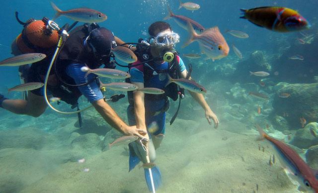 Alanya da görme engelliler, dalış yapıp su altında yürüdü